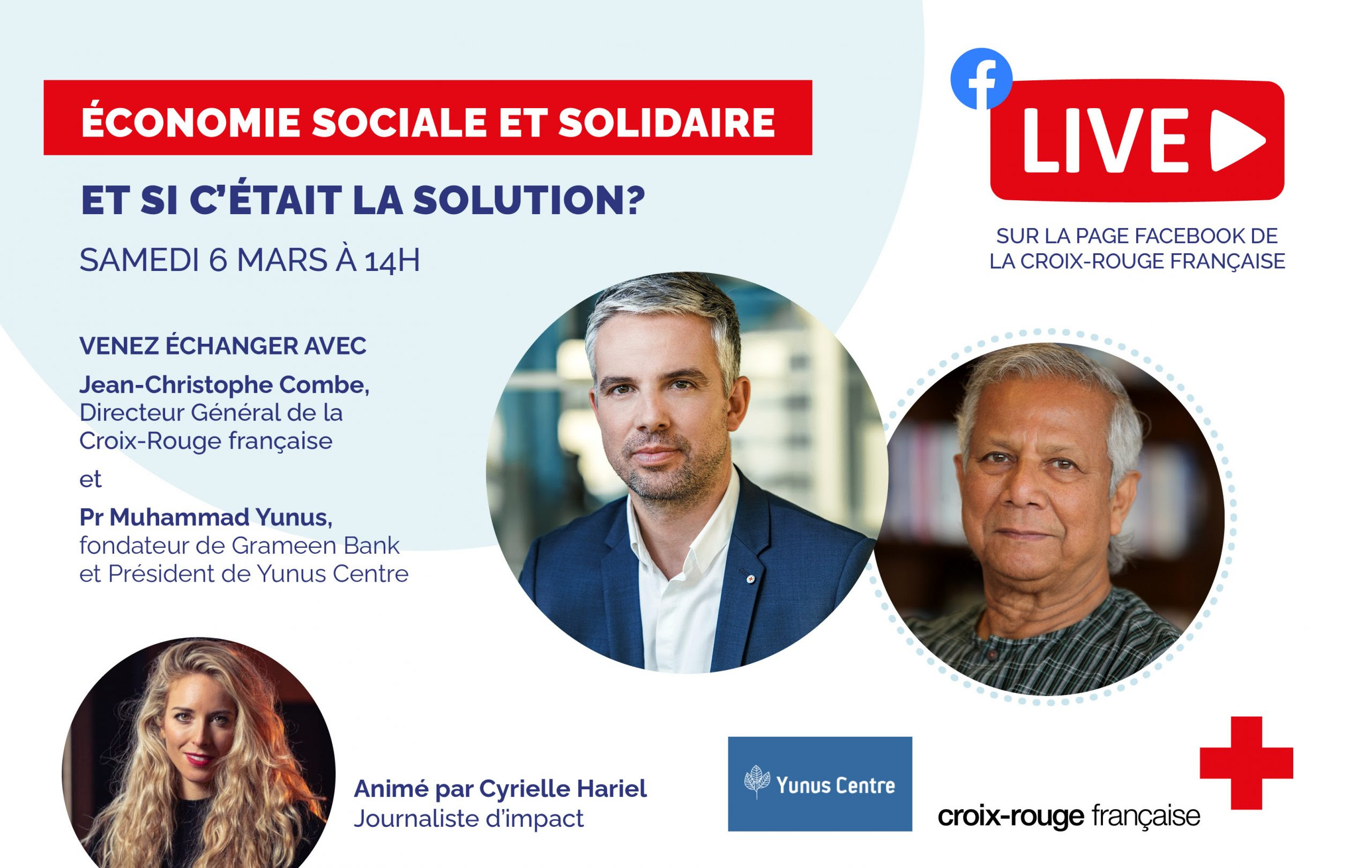 """What if Social Business was the solution?"".  Professor Muhammad Yunus and Jean-Christophe Combe, Executive Director of the French Red Cross, are converging in their analysis of the on-going crisis and their vision how to make a better world post-COVID-19, a 3zeros World (with Zero Poverty, Zero Wealth Concentration and Zero Net Carbon emission).     French Red Cross and Professor Yunus teams are developing their partnership aimed to produce a positive social impact and give to all access to quality healthcare services."